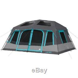 10-Person 2 Room Dark Rest Instant Cabin Tent Polyester Steel Outdoor Shelter