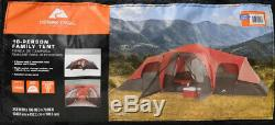 10 Person Large Tent Camping 3 Room Outdoor Waterproof Family RED Ozark Trail