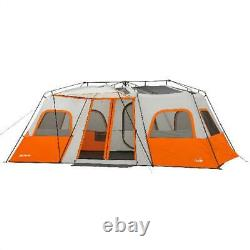 3 Room Camping Instant Cabin Tent Integrated LED Light 12 Person Outdoor Shelter