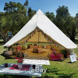 4-Season Glamping Bell Tent 6M Waterproof Canvas Camping Safari Tent Yurt Sibley