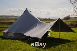 400 x 260cm Large AWNING with extra eyelets For all Bell Tents Sand or Grey