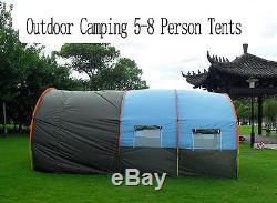 5-8 Person Large Camping Family Tent Waterproof Fiberglass Outdoor Hike 18107