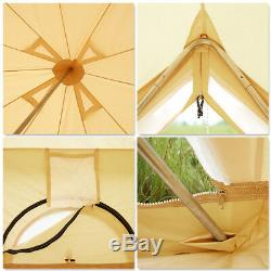 5M Canvas Tent Bell Tent Yurt British Tent Camping 8-10 persons Tents Waterproof