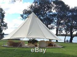 6M Canvas Bell Tent British Large Waterproof Camping Glamping Yurt with Stove Jack