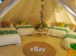 7M Canvas Bell Tent Tipi Tent Waterproof Yurt Glamping Camping Stove Hole Large