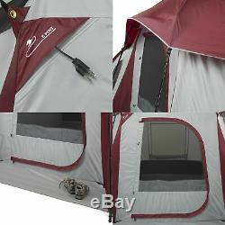 Big 10-Person 3-Room Cabin Tent with Large Sun Canopy Windows Outdoor Camping