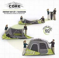 CORE Instant Cabin 11 x 9 Foot 6 Person Cabin Tent Air Vents Loft Red New In Box