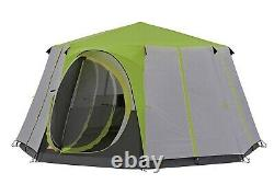 Coleman Tent Octagon 8 Man Festival Dome Tent, Waterproof Camping Green