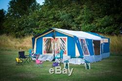 Conway classic large blue and orange trailer tent 8 berth