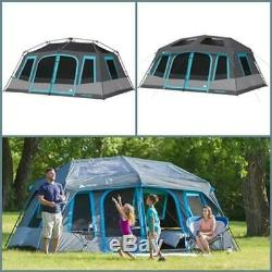 Dark Rest Instant Cabin Tent 10-Person 2 Room Outdoor Shelter Easy to Assemble