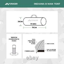 FORAGER Indiana 8 Man Tent 8 PERSON MAN BERTH FAMILY TENT Large Family Tent