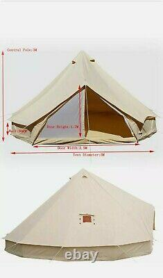 Glamping Cotton Canvas Bell Tent 5M Waterproof Four-Season Family Camping Yurts