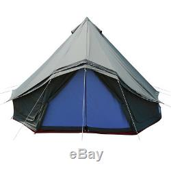 Green 5M Large Window Bell Tent Waterproof Canvas Camping Beach Glamping Tent