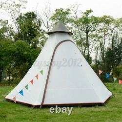 Huge Waterproof Lightweight Double-Layer Family Indian Style Teepee Camping Tent
