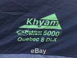 Khyam Quebec 8 DLX 10 Berth / 10 Man Large Family Tent With Carpet & Footprint