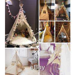 Kids Children WIGWAM Large Teepee Cotton Playhouse Indoor Outdoor Camping Tent