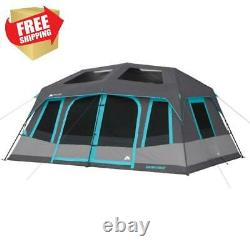 LARGE 10 PERSON INSTANT Cabin Camping Family Room Tent Dark Blackout Outdoor