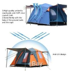 Large 3-4 Person Pop up Tunnel Tent Waterproof Camping Fishing Beach Shelter
