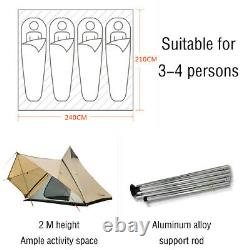 Large 4-persons Camping Tent Waterproof Family Indian Style Pyramid Tipi