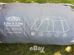 Large 5.5m x 3m Campvalley Core 12 Person Instant Cabin Tent Erect In Minutes