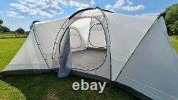 Large 8-person family camping dome tent with four separate sleeping pods
