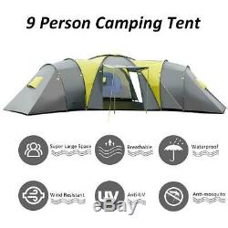 Large 9 Man Camping Tent 4 Bedroom Waterproof Awning Family Festival Hiking
