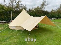 Large Bell Tent Cotton Canvas Awning With Pole 400cm x 260cm (AWNING ONLY)
