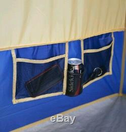 Large Camping Tent 14 Person With 4 Rooms Separate Exit Outdoor Blue Hiking Fish