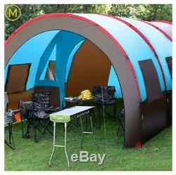 Large Camping Tent Waterproof Canvas Fiberglass 8-10 People Family Tunnel Summer