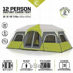 Large Core Equipment Instant Cabin Tent 12 Person Includes Full Size Outer Tent