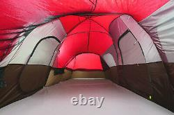 Large Outdoor Camping Tent 10-Person 3-Room Cabin Screen Porch Waterproof Red