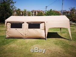 Outdoor Family Camping Large Cotton 6X3M Glamping Safari House Tent With Veranda