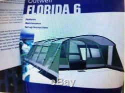 Outwell Florida 6 Large Family Tent & Carpet Approx 21ft x 17ft
