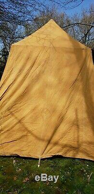 Rare Denver Tent Co Canvas Tent 1956 9x11 Brooks square Umbrella metal waterproo