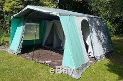 Relum Super 7K Large 7 Berth Frame Canvas Tent Kitchen model Marquee Vintage VGC