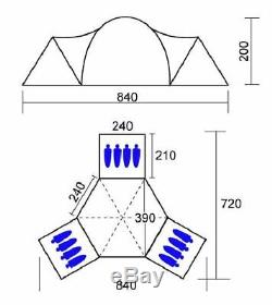 Skandika Turin 12 Person 3 Bedroom Family Festival Camping Outdoor Tent TS05317