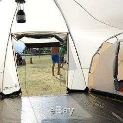 Skandika Turin Large Family Group 12-Person Tent With 3 Sleeping Rooms And Sun