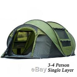 Throw Pop Up Tent 5-6 Person Automatic Double Layers Large Family Camping Hiking
