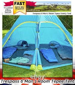 Trespass 6 Man Tepee Style Large Easy Pitch Family Camping Tent