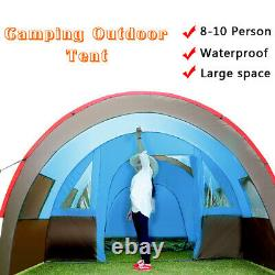 UK Large Family Tent 8-10 Person Tunnel Tents Camping Column Tent Waterproo