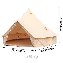 UK Shipped Large Space 6M Canvas Bell Yurt Tent Glamping Tent with stove jack