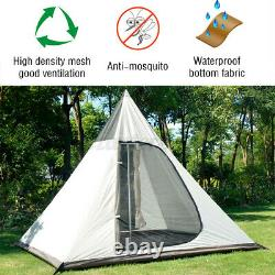 UK Waterproof Camping Family Tent Indian Style Pyramid Tipi Winter Camp Tents