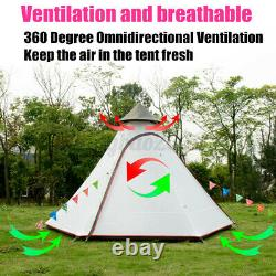 UK Waterproof Lightweight Double-Layer Family Indian Style Teepee Camping Tent