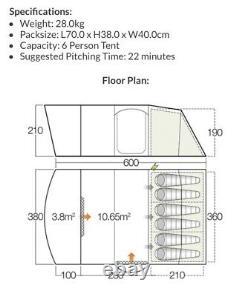 Vango Hayward 600 XL Large Family Tent Super Condition
