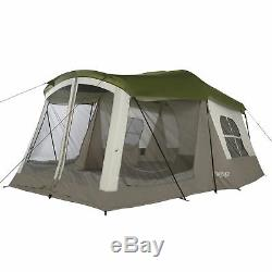 Wenzel Klondike Large Outdoor 8 Person Camping Tent with Screen Room, Green