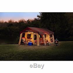 20x10 'nouveau Camping Brun Instant Family Cabin 2 Room Large Tent 10 Personnes Étanche