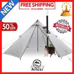 3-6 Personnes Ultra-léger Camping En Plein Air Teepee 20d Silnylon Pyramide Tente Grande
