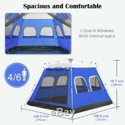 4-6 Personnes Grand Camping Famille Tente Automatique Tente Instantanée Abris Étanche