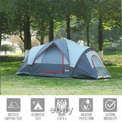 5/6 Personne Léger Camping Tente Blue Storage Compartiments Family Outdoor Uk