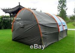 5-8 Personnes Famille Tunnel Grande Tente De Camping En Fibre De Verre De Toile Imperméable